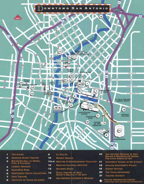 San Antonio, Texas Tourist Map