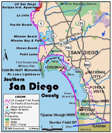 San Diego Beach Map San Diego Mappery