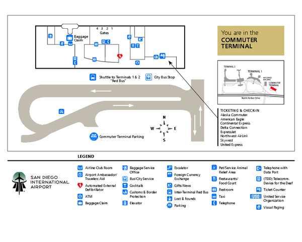 San Diego International Airport Commuter Terminal Map 3225 N