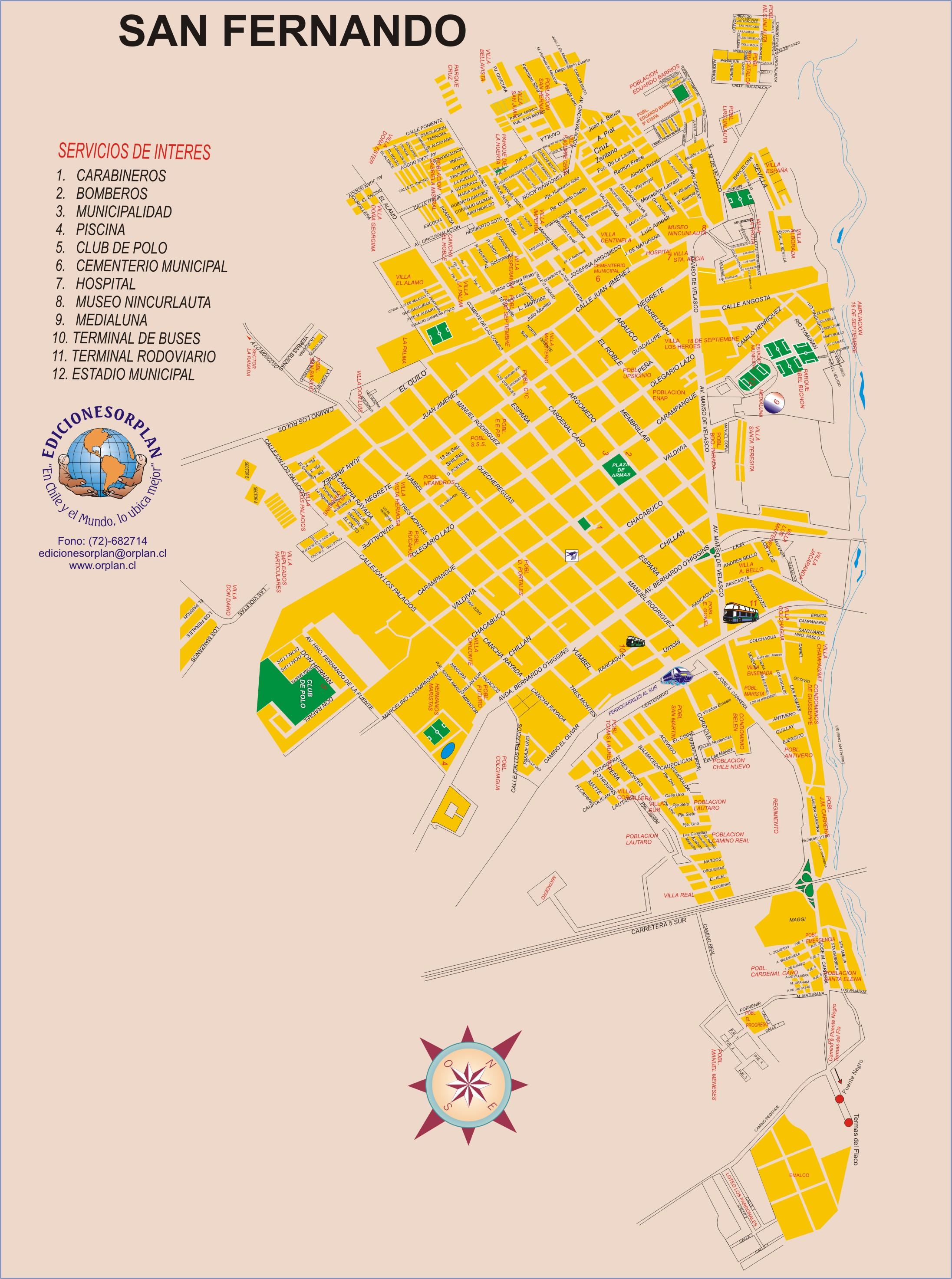 San Fernando Tourist Map San Fernando Chile mappery