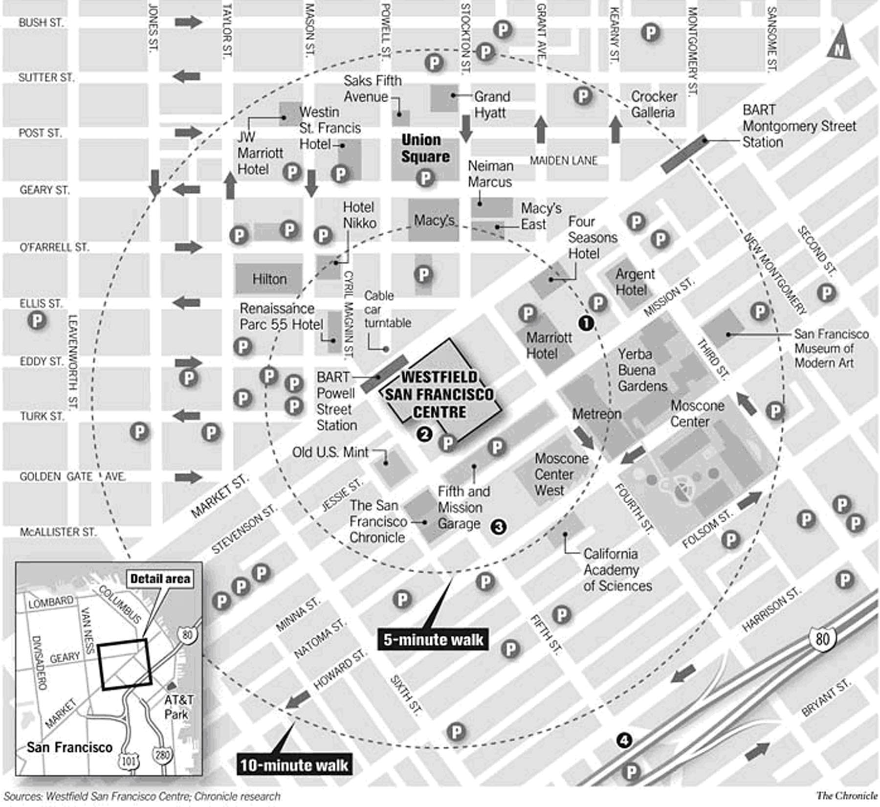 San Francisco City Center Map San Francisco CA mappery