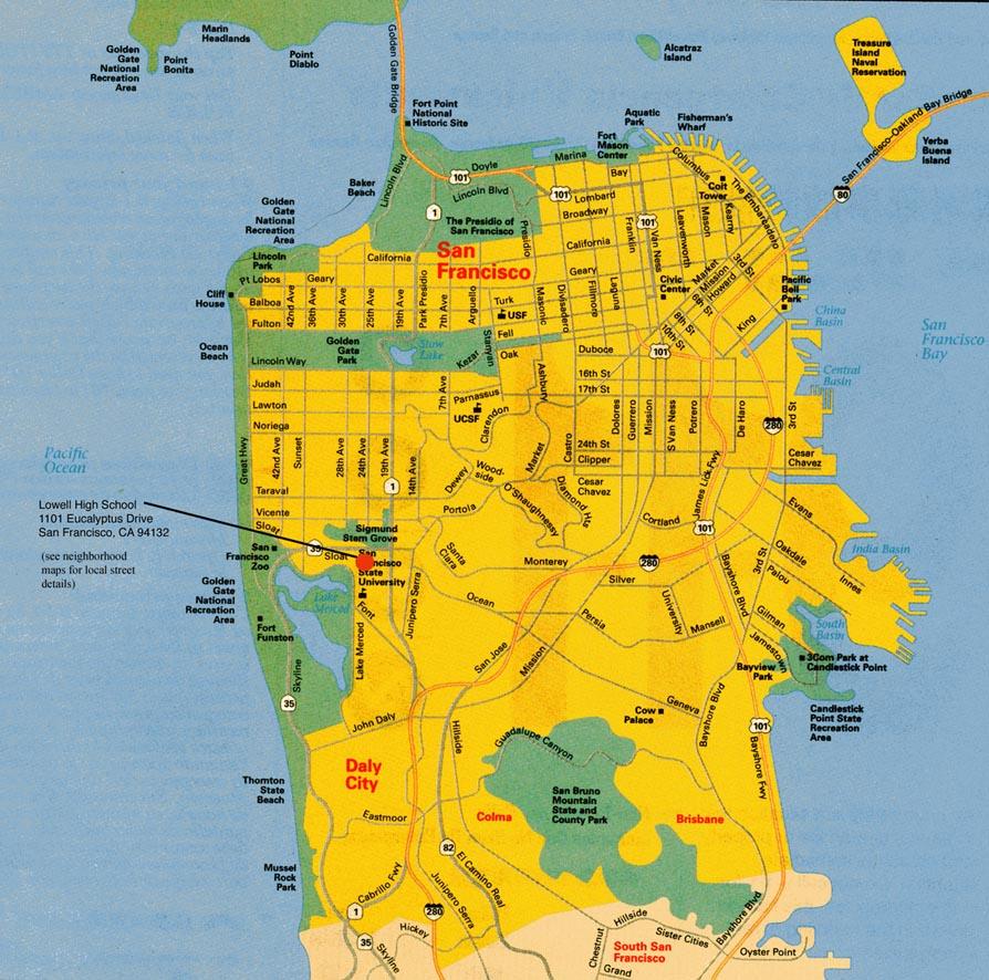 Map San Francisco Neighbourhoods San Francisco City Map San