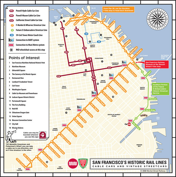 San Francisco Historic Rail Map San Francisco CA Mappery - San francisco rail map