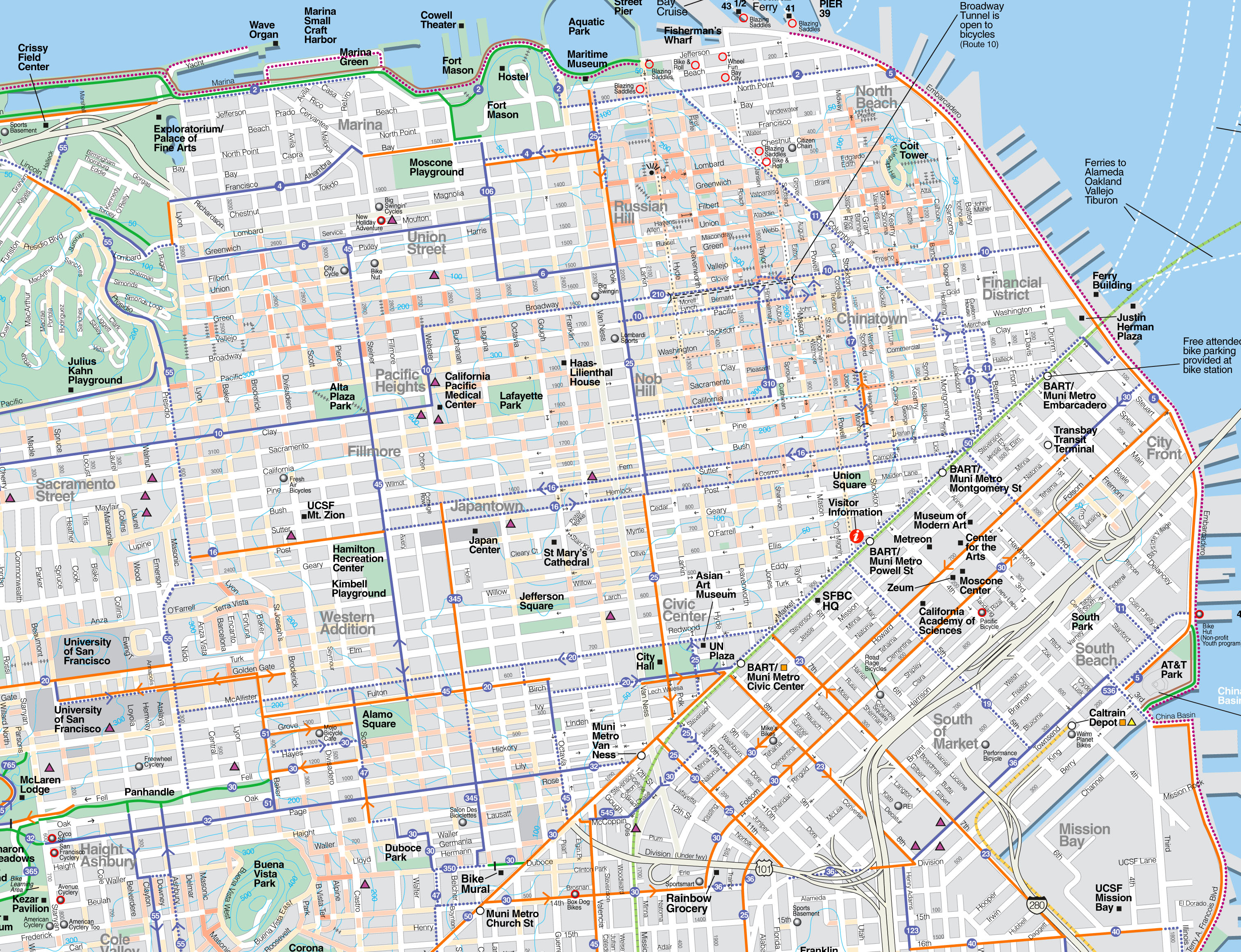 Maps Update San Francisco Tourist Map TopRated - San francisco map vector free download