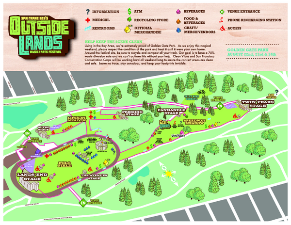 San Francisco Outside Lands Music Festival Map Golden Gate Park