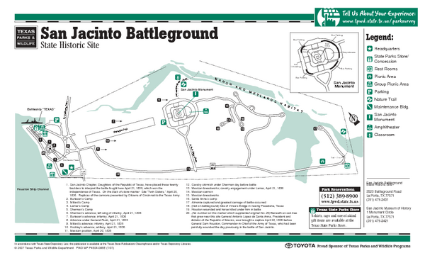 San Jacinto Battleground, Texas State Park Facility Map