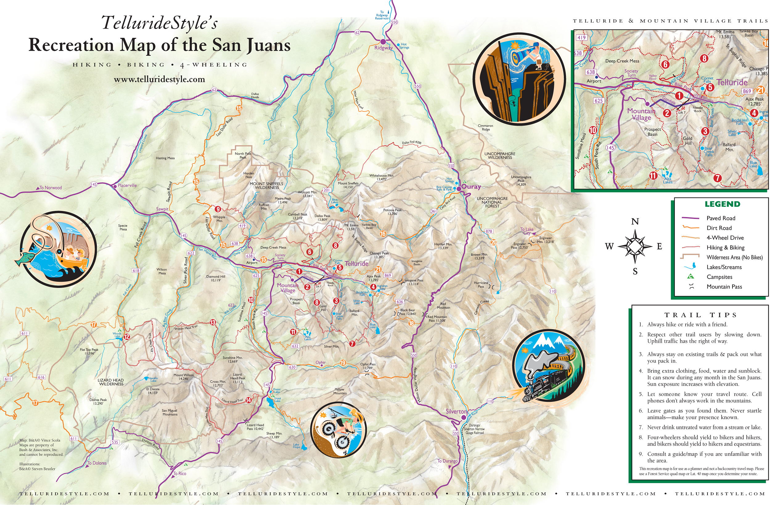 San Juan Mountains Trail Map San Juan Mountains Co Mappery