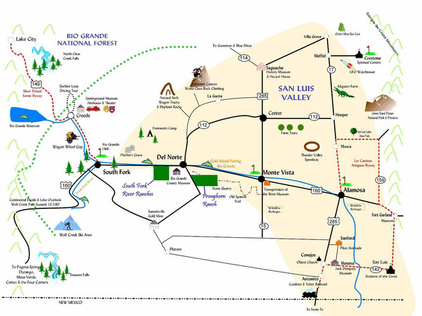San Luis Valley Tourist Map South Fork Colorado mappery – Colorado Tourist Map