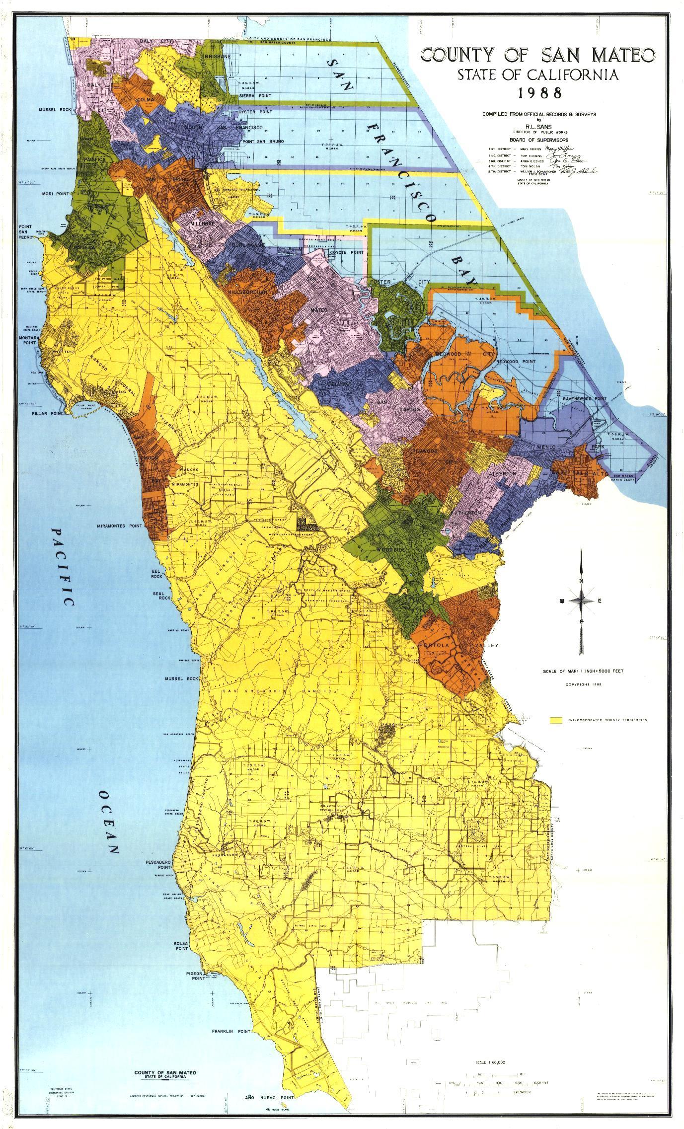 San Mateo County Map San Mateo California • mappery