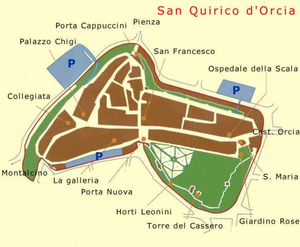 San quirico map montepulciano italy mappery - Bagno vignoni mappa ...