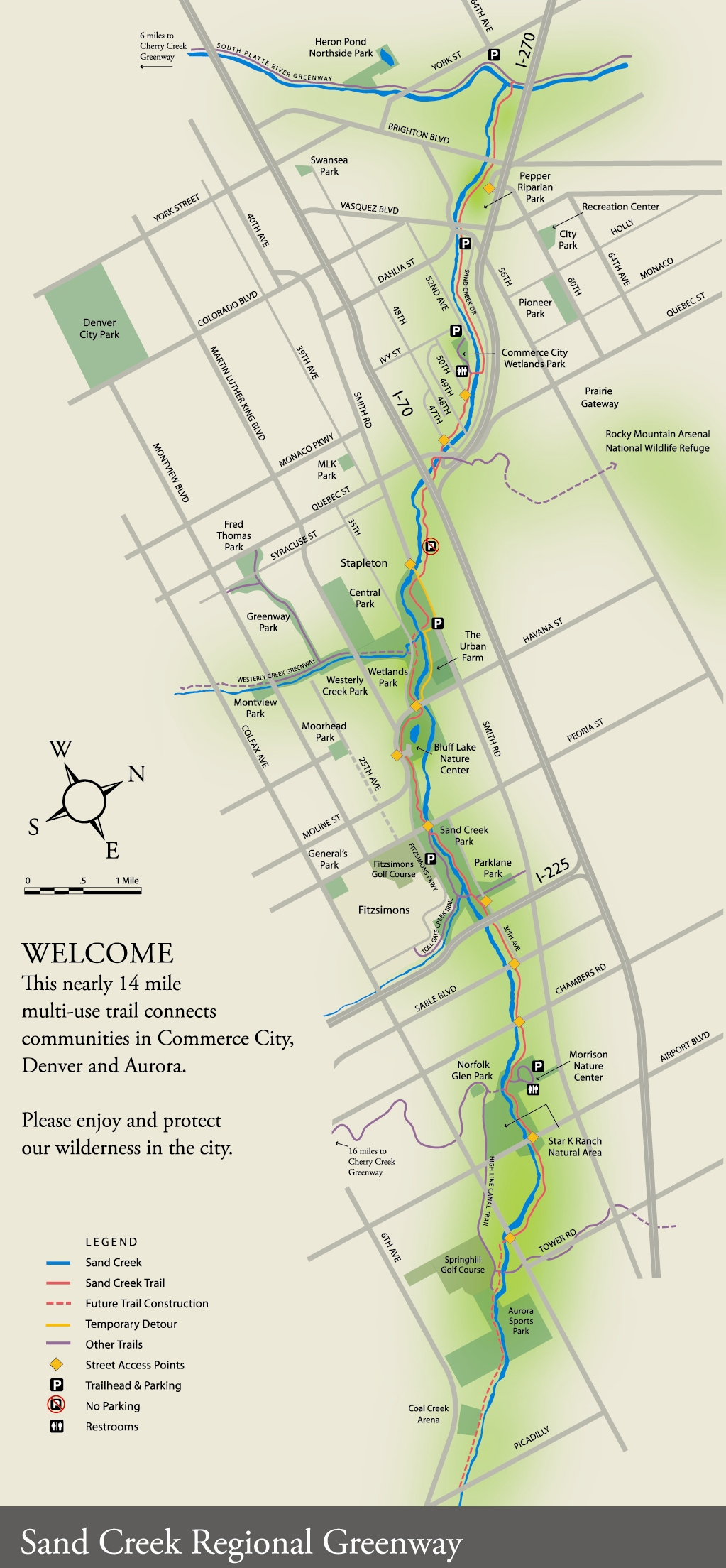 Sand Creek Regional Greenway Map Denver City Park Denver Co Usa