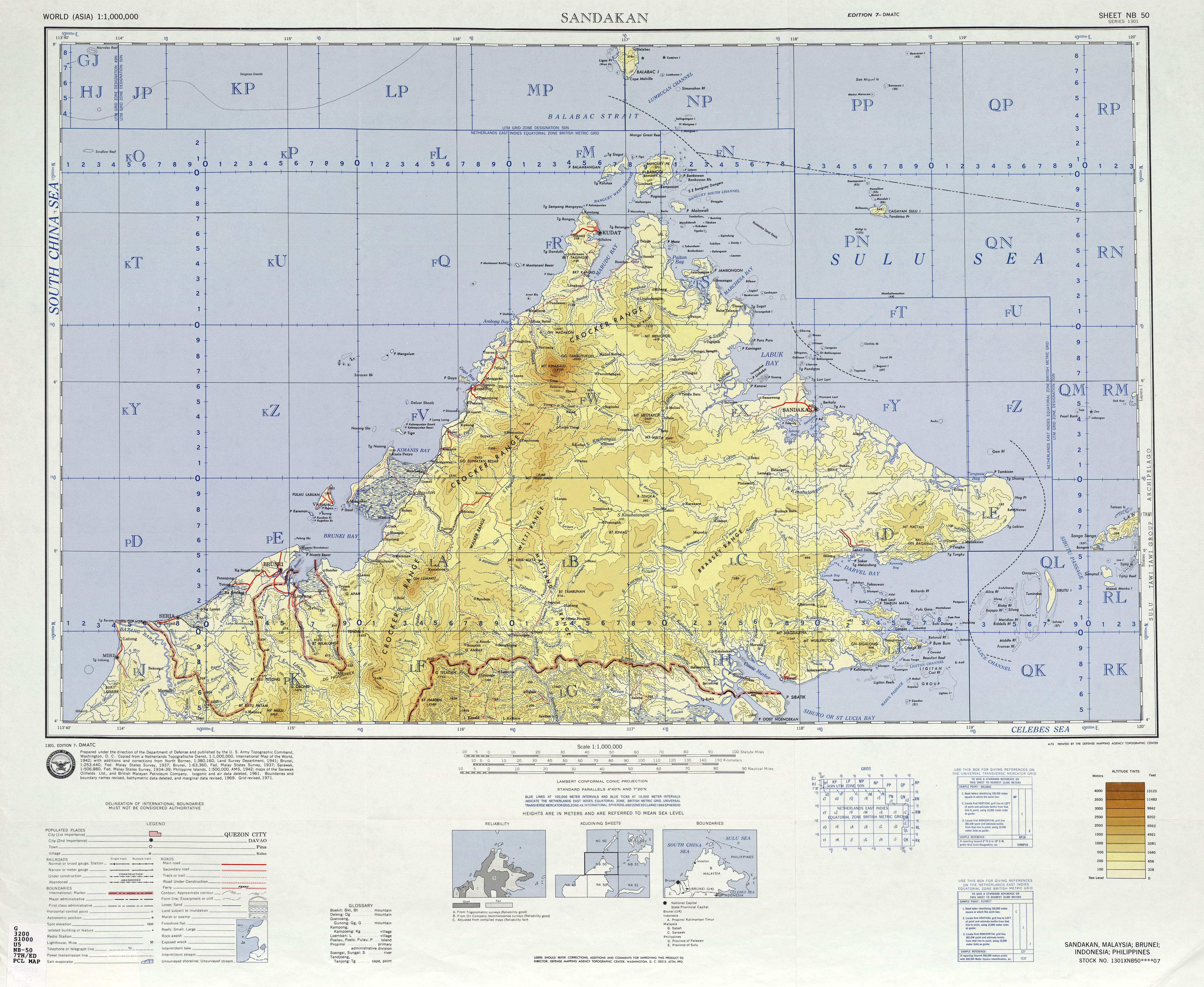 Sandakan Topo Map Sabah Malaysia mappery