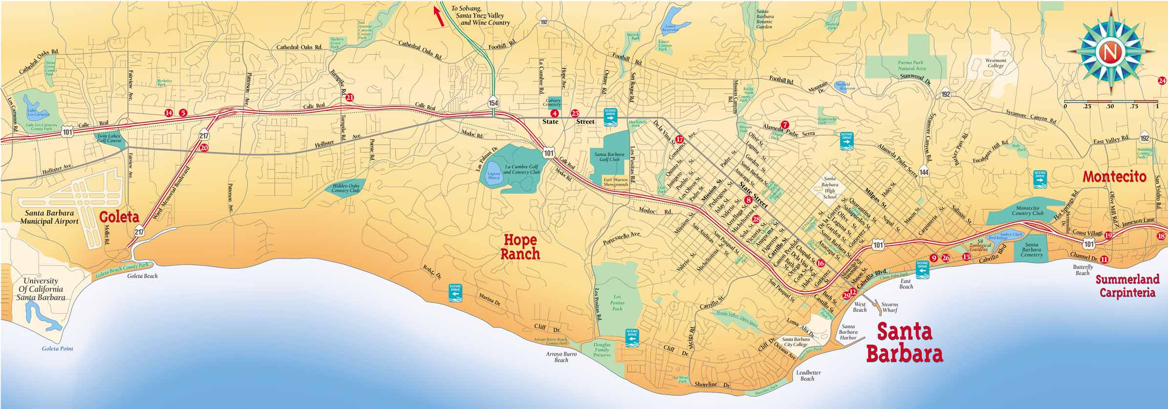 Map Of Santa Barbara EDEK – Santa Barbara Tourist Map