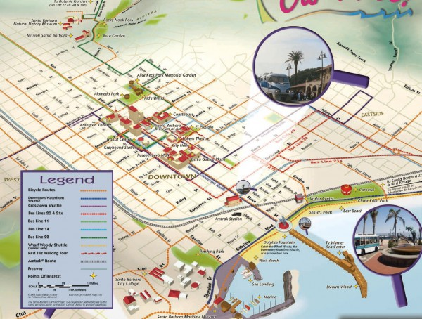 Santa Barbara Car Free Map Santa Barbara CA mappery – Santa Barbara Tourist Attractions Map
