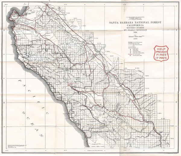 Santa Barbara National Forest 1924 Map