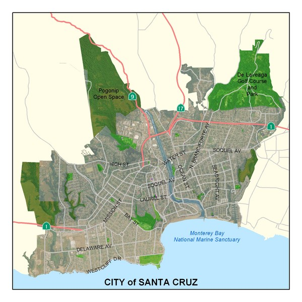 Santa Cruz California Map.Santa Cruz City Limits Map Santa Cruz California Mappery