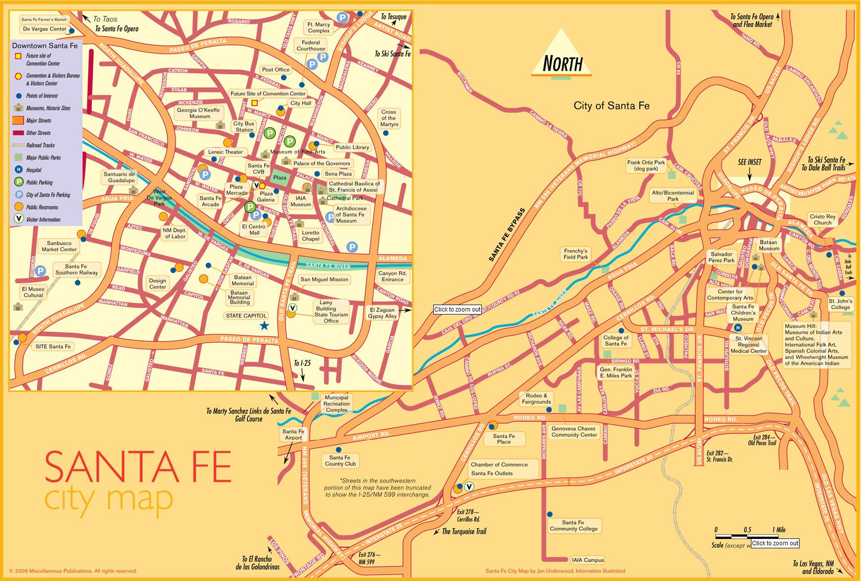 Santa Fe Tourist Map  Santa Fe New Mexico  Mappery