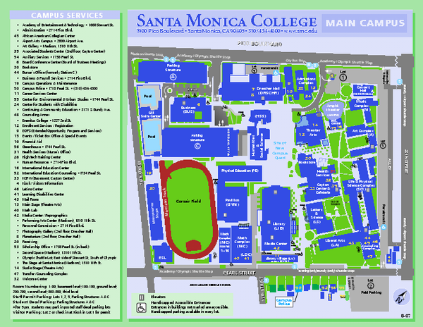santa monica college campus map 1900 pico blvd santa monica ca