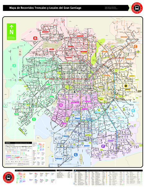 Santiago Bus and Metro Map Santiago Chile mappery