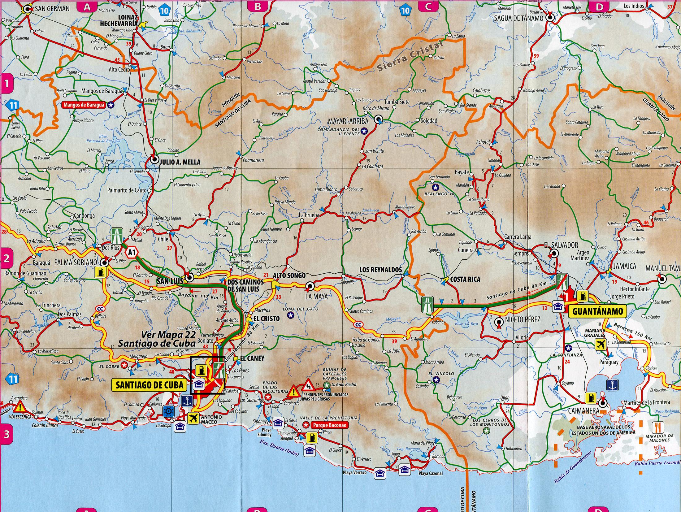 santiago de cuba guantanamo road map la maya cuba mappery