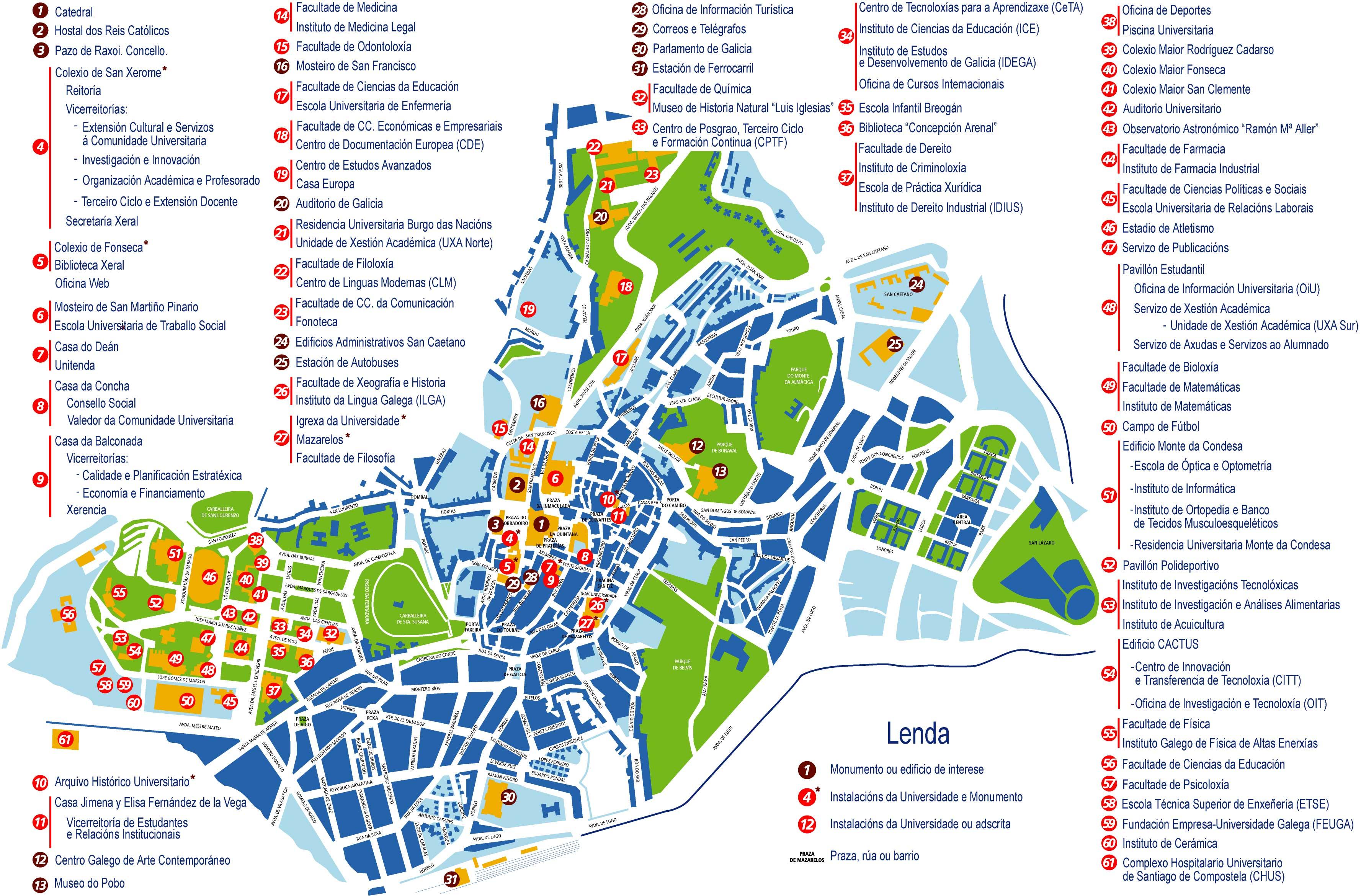 Santiago de Compostela Tourist Map Santiago de Compostela Spain