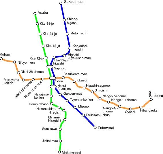 Sapporo Metro Map Sapporo mappery