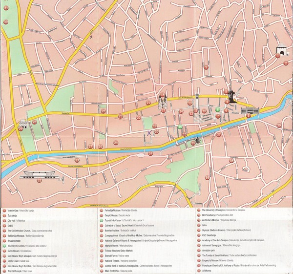 Sarajevo Downtown Map - Sarajevo Bosnia and Herzegovina ... on ww1 map, amsterdam netherlands map, bosnia and herzegovina map, bratislava slovakia map, bosnia location on map, vladivostok russia map, tirana albania map, slovenia bosnia map, damascus syria map, stockholm bosnia map, lukavac bosnia map, bosnia genocide map, europe bosnia map, bosnia on world map, pristina kosovo map, livno bosnia map, surviving the killshot map, zurich switzerland map, syrian land use map, blagaj bosnia map,