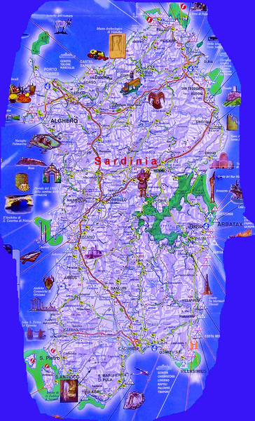 Sardinia Tourist Map Sardinia mappery