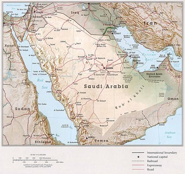 Topographic Map Of Saudi Arabia.Saudi Arabia Maps Mappery