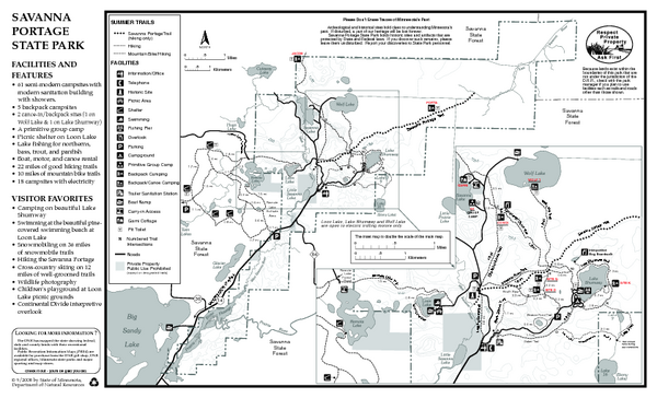 Savanna Portage State Park Summer Map