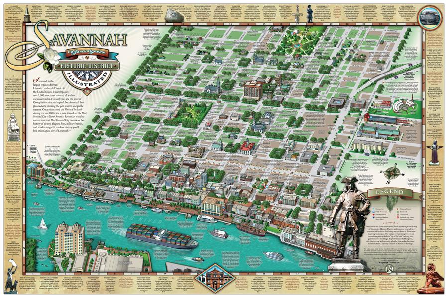 Savannah Historic District Illustrated Map - Savannah GA