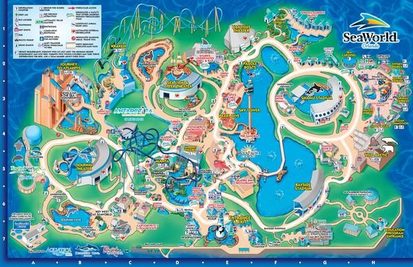 Charming Fullsize SeaWorld Orlando Theme Park Map