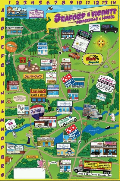 Seaford Delaware Cartoon Map