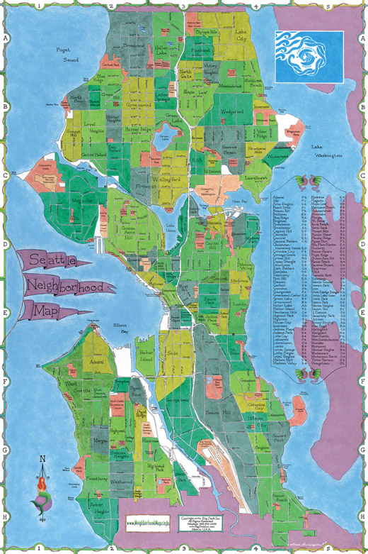 Seattle Neighborhood Map  Seattle  Mappery