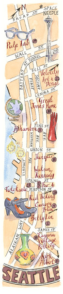 Seattle Shopping map for Lucky Magazine