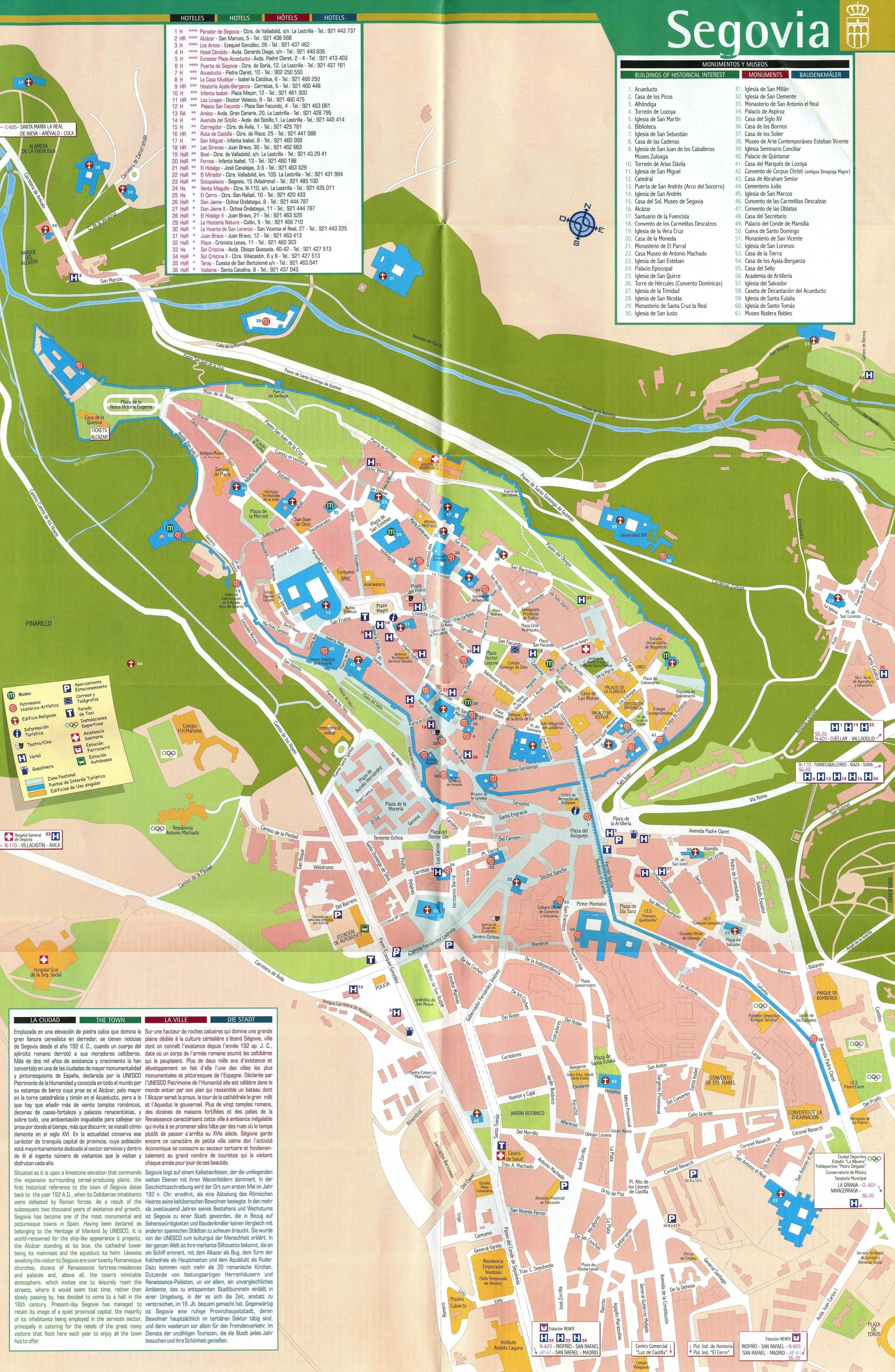 Segovia Spain Tourist Map Segovia Spain mappery