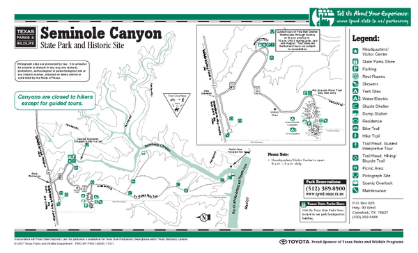 Seminole Canyon, Texas State Park Facility and Trail Map
