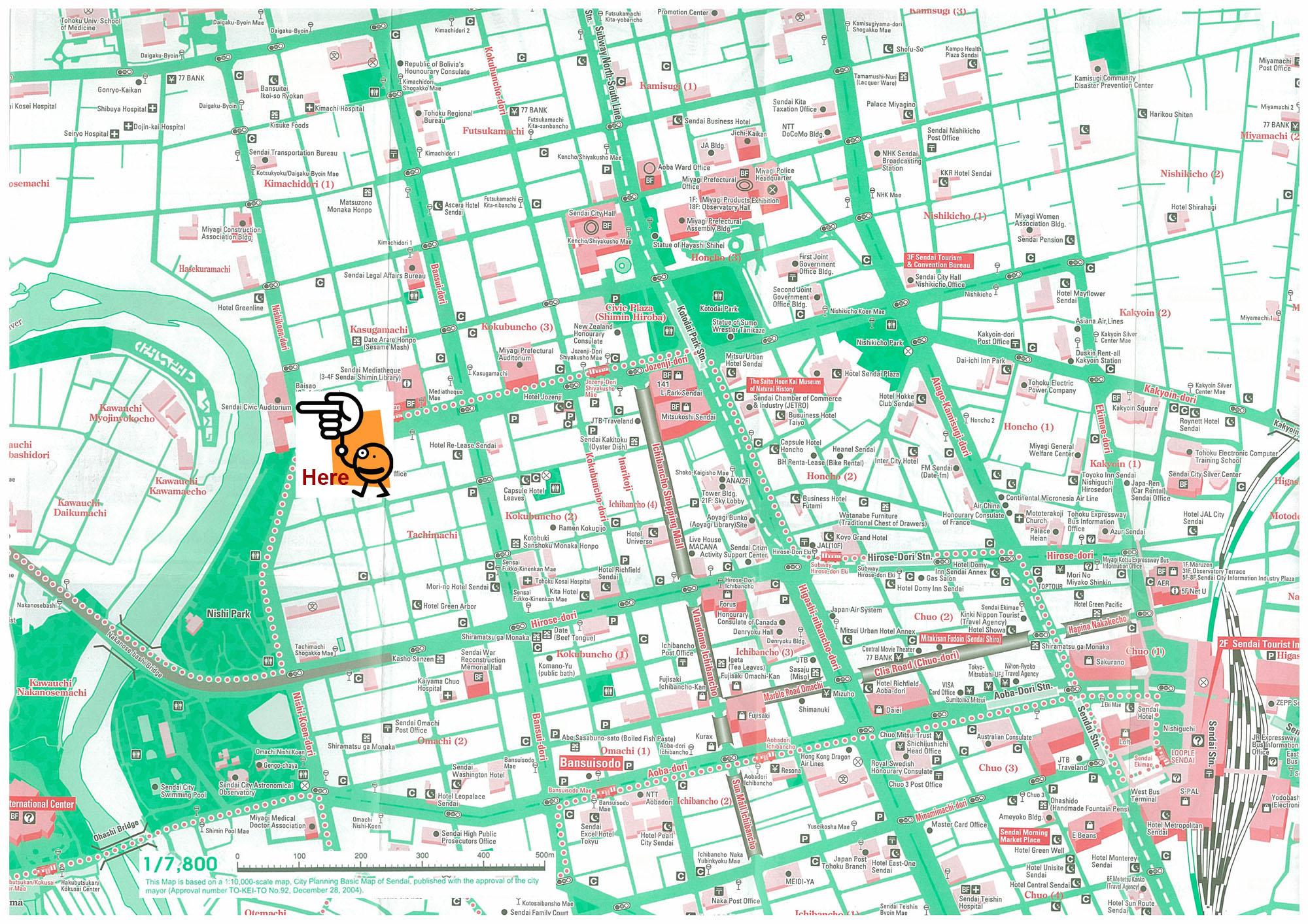 Sendai Tourist Map Sendai Japan mappery