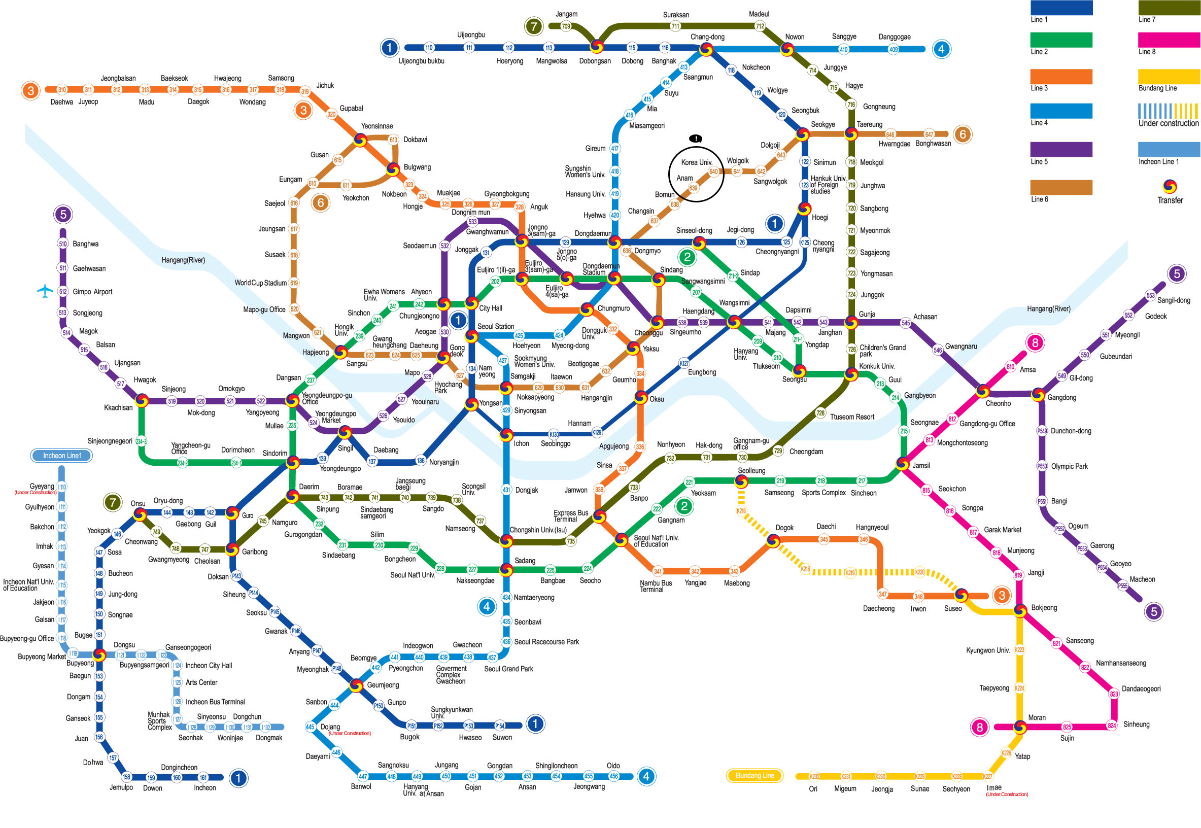 Korea Seoul Subway Map