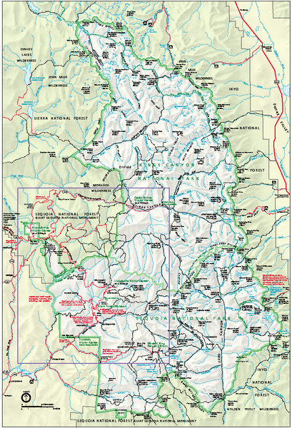 Sequoia National Park map and Kings Canyon National park map