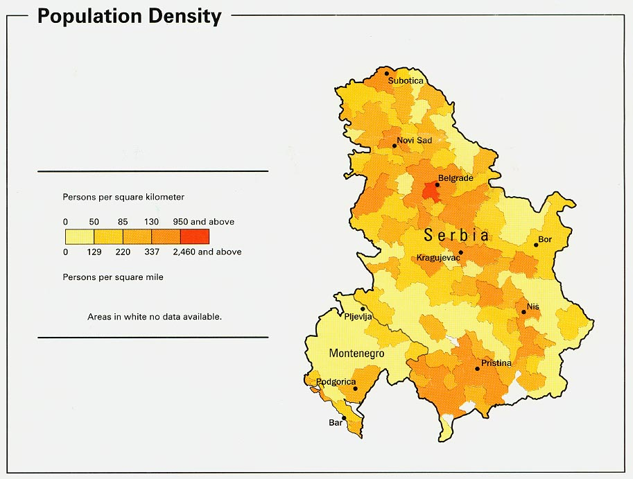 Serbia and Montenegro Population Map Serbia and Montenegro mappery