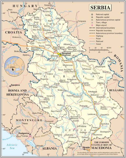 Serbia and surrounding area Map