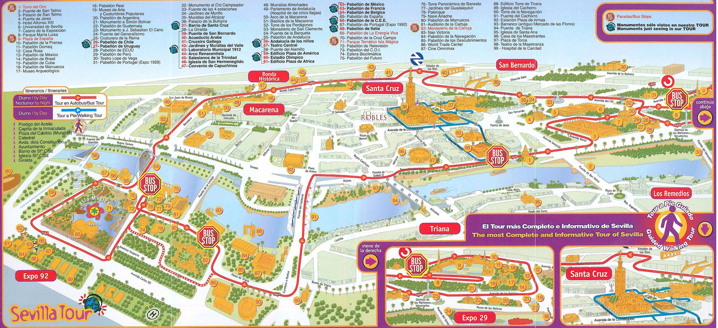 Carte De S 233 Ville Plan Touristique Seville