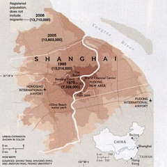 Shanghai population change Map