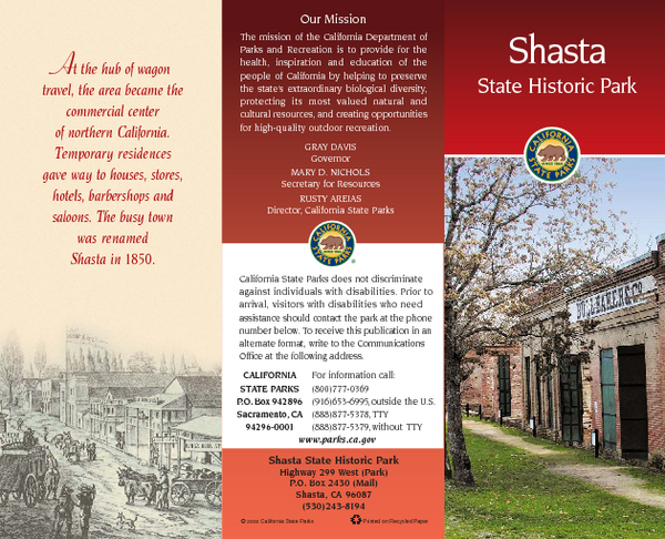 Shasta State Historic Park Map