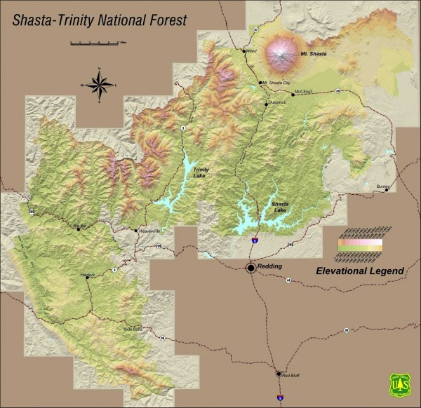 National Forests In California Map.Shasta Trinity National Forest Elevation Map Lakehead California