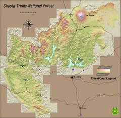 Shasta Trinity National Forest Elevation Map