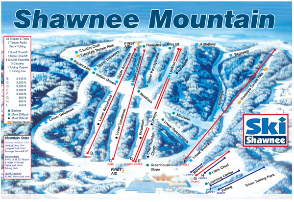 Shawnee Mountain Ski Trail Map