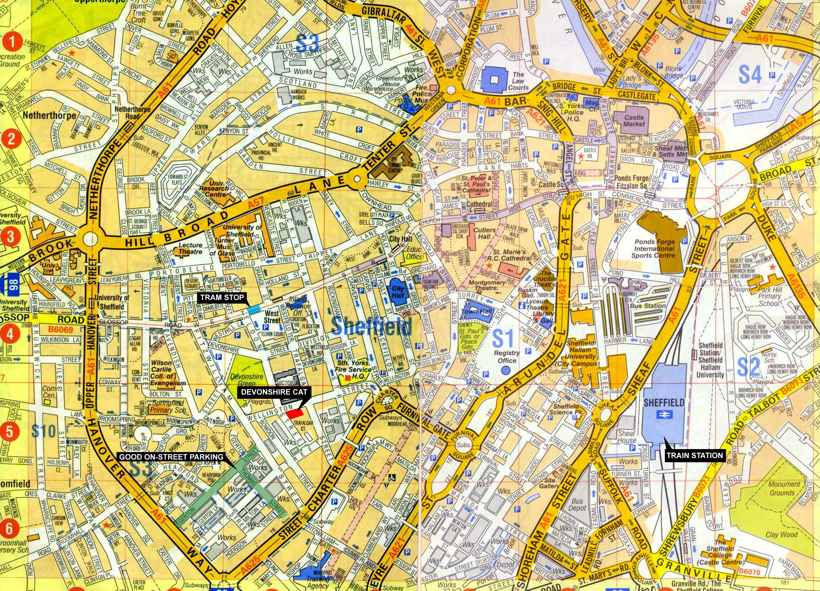 Sheffield City Center Map Sheffield UK mappery