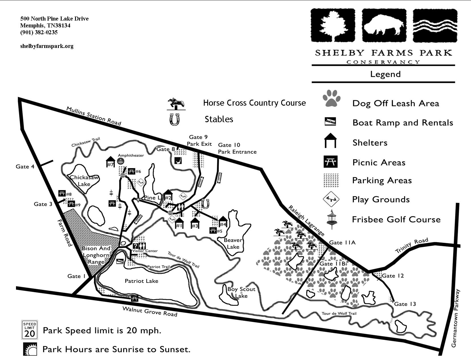 Shelby Farms Park Activities Areas Map   Memphis TN USA • mappery